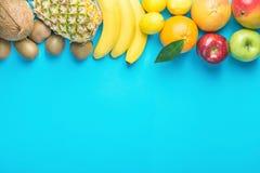 Разнообразие различных тропических и сезонных плодоовощей лета Граница бананов кивиа яблок лимонов апельсинов цитруса кокоса манг Стоковое фото RF