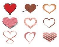 разнообразие сердец Стоковые Фото