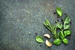Разнообразие специй: травы, чеснок, черный перец Взгляд сверху с co стоковые фотографии rf