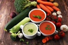 Разнообразие супов и ингридиентов красочных овощей cream для s Стоковое Фото