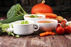 Разнообразие супов и ингридиентов красочных овощей cream для s Стоковое Изображение RF