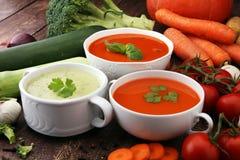 Разнообразие супов и ингридиентов красочных овощей cream для s Стоковые Изображения RF