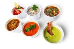 Разнообразие супов от различных кухонь Стоковые Изображения RF