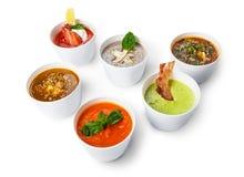 Разнообразие супов от различных кухонь Стоковое Изображение