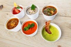 Разнообразие супов от различных кухонь Стоковая Фотография RF