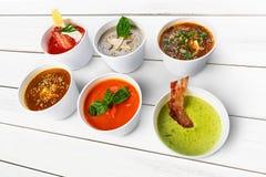 Разнообразие супов от различных кухонь Стоковые Изображения