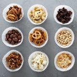Разнообразие съемки здоровых закусок надземной стоковое изображение rf