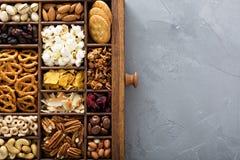 Разнообразие съемки здоровых закусок надземной стоковая фотография rf