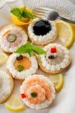 разнообразие тарелки canapes Стоковое Изображение