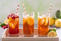 Разнообразие чая со льдом в высокорослых стеклах Стоковое Фото