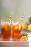 Разнообразие чая со льдом в высокорослых стеклах Стоковые Изображения RF