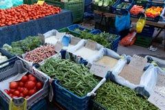 Разнообразия стручковой фасоли, греческий рынок фермеров Стоковая Фотография RF