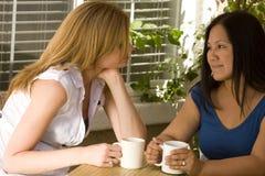 Разнообразная группа в составе женщины имея кофе и говорить Стоковое фото RF