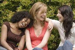 Разнообразная женщина в малый говорить группы Стоковые Изображения