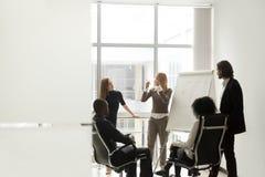 Разнообразная команда дела слушая к диктору обсуждая presentati Стоковая Фотография