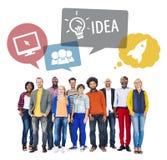 Разнообразная концепция людей и идеи изолированная на белизне Стоковое фото RF