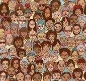 Разнообразная толпа людей бесплатная иллюстрация