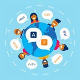 Разнообразные друзья переводя онлайн переговор бесплатная иллюстрация
