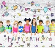 Разнообразные дети на вечеринке по случаю дня рождения Стоковая Фотография RF