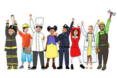 Разнообразные многонациональные дети с различными работами Стоковые Изображения
