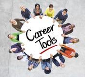 Разнообразные люди в круге с карьерой оборудуют концепцию стоковая фотография rf