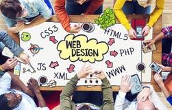 Разнообразные люди работая и конструктивная схема веб-дизайна Стоковые Фотографии RF
