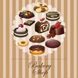 Разнообразный десерт на знамени бесплатная иллюстрация