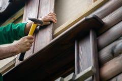 Разнорабочий плотника бить молотком ноготь молотком в деревянной доске Концепция  стоковое фото