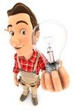 разнорабочий 3d держа электрическую лампочку Стоковое Изображение