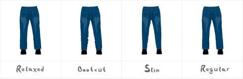 Разные виды голубых джинсов ` s людей подпирают взгляд изолированных на белизне Стоковые Фото