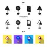 Разные виды дорожных знаков чернят, плоские, monochrome значки в собрании комплекта для дизайна Знаки предупреждения и запрета иллюстрация штока