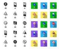 Разные виды дорожных знаков mono, плоских значков в установленном собрании для дизайна Символ вектора знаков предупреждения и зап бесплатная иллюстрация