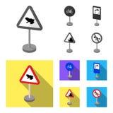 Разные виды дорожных знаков monochrome, плоских значков в собрании комплекта для дизайна Вектор знаков предупреждения и запрета иллюстрация вектора