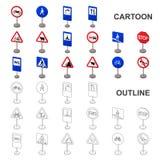 Разные виды значков шаржа дорожных знаков в собрании комплекта для дизайна Символ вектора знаков предупреждения и запрета иллюстрация штока