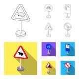 Разные виды плана дорожных знаков, плоские значки в собрании комплекта для дизайна Вектор знаков предупреждения и запрета бесплатная иллюстрация