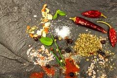 Разные виды специи на плите шифера Продажа специй Подготовка пряной еды Продавец специи рекламы Стоковая Фотография RF