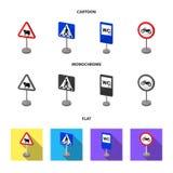 Разные виды шаржа дорожных знаков, плоские, monochrome значки в собрании комплекта для дизайна Знаки предупреждения и запрета иллюстрация вектора