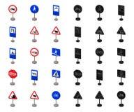 Разные виды шаржа дорожных знаков, черные значки в собрании комплекта для дизайна Вектор знаков предупреждения и запрета иллюстрация штока