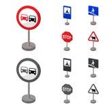 Разные виды шаржа дорожных знаков, monochrome значки в собрании комплекта для дизайна Знаки предупреждения и запрета иллюстрация вектора