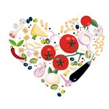 Разные виды Vegan итальянские ингредиентов макаронных изделий Концепция в форме сердца Большой для меню, знамени, летчика, карты, бесплатная иллюстрация