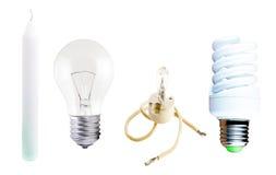 Разные виды ламп и свечи Стоковая Фотография