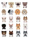 Разный вид собак шаржа иллюстрация штока