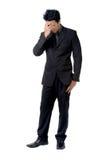 Разочарованная позиция знака бизнесмена стоковая фотография