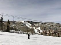 Разочарованные треки Snowboarder опорожняют след стоковое изображение rf