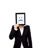 Разочарованный профессионал держа таблетку цифров стоковые изображения rf