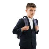 Разочарованный школьник с schoolbags Стоковые Изображения