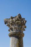 Разработанный штендер на старом историческом месте римских руин Volubilis около Meknes, Марокко, Африки Стоковые Фотографии RF