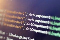 Разработка программного обеспечения C-острый c, СЕТЧАТЫЙ конец кода вверх Макрос снятый экрана разработчика игры Стоковые Изображения RF