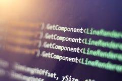 Разработка программного обеспечения C-острый c, СЕТЧАТЫЙ конец кода вверх Макрос снятый экрана разработчика игры Стоковое Фото