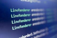 Разработка программного обеспечения C-острый c, СЕТЧАТЫЙ конец кода вверх Макрос снятый экрана разработчика игры Стоковые Изображения